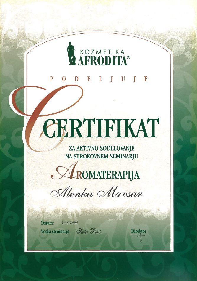 Certifikat Afrodita - aromaterapija