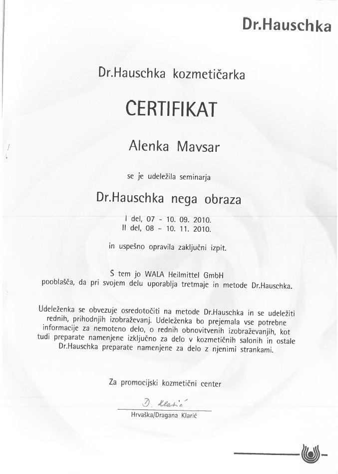 Certifikat - Dr. Hauschka nega obraza
