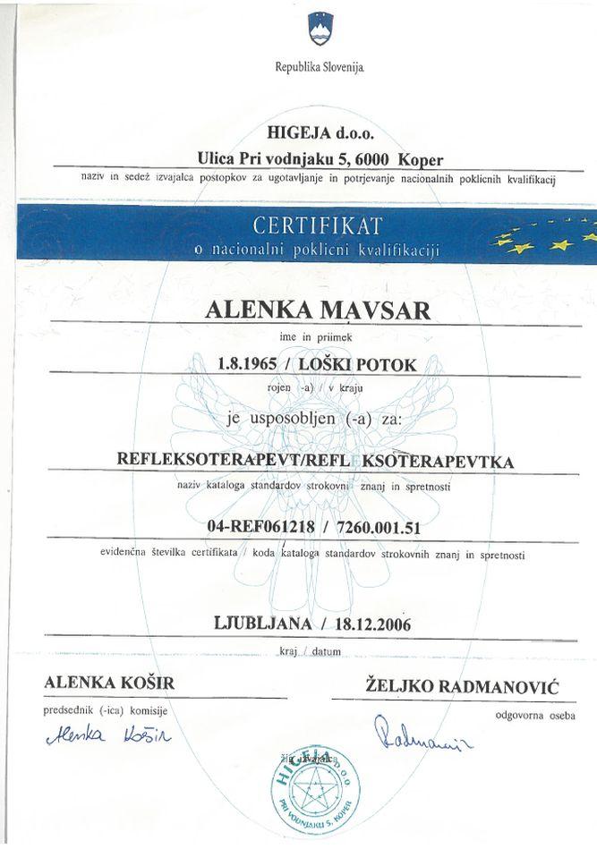 Certifikat Higeja - poklicna kvalifikacija
