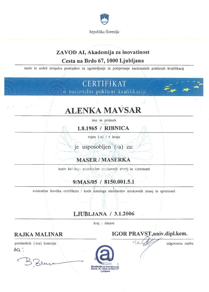 Certifikat RS - poklicna kvalifikacija
