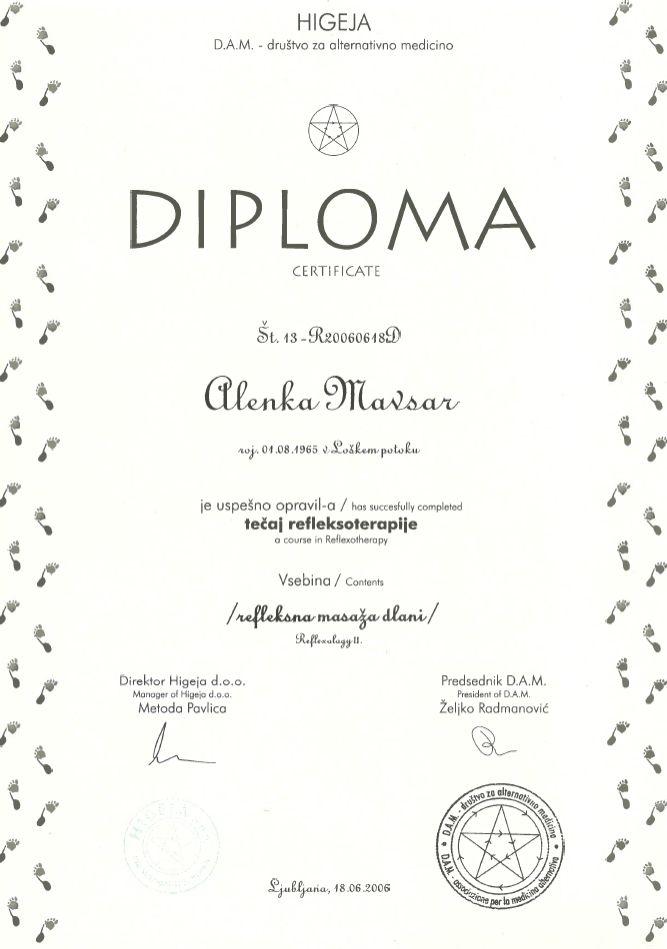 Diploma Higeja - refleksoterapija