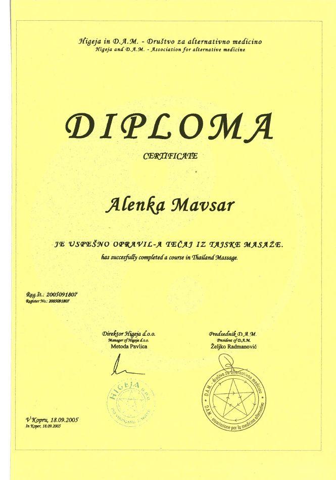Diploma - tajska masaža